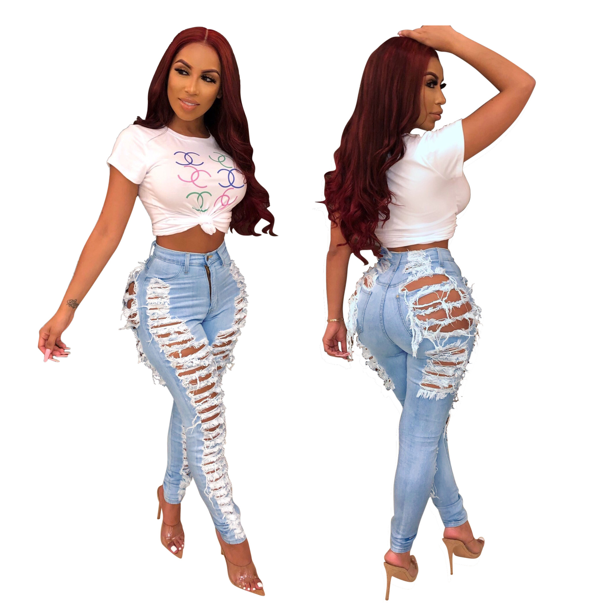2019 Bleaching Casual Female Ripped Jeans For Women Skinny Jeans Woman High Waist Pencil Pants Sexy Denim Plus Size Mom Jeans