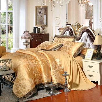 48 Gold/White/Blue Jacquard Silk Bedding Set Luxury 4/6pcs Satin Bed Set Duvet Cover King Queen Bedclothes Bed Linen Sets