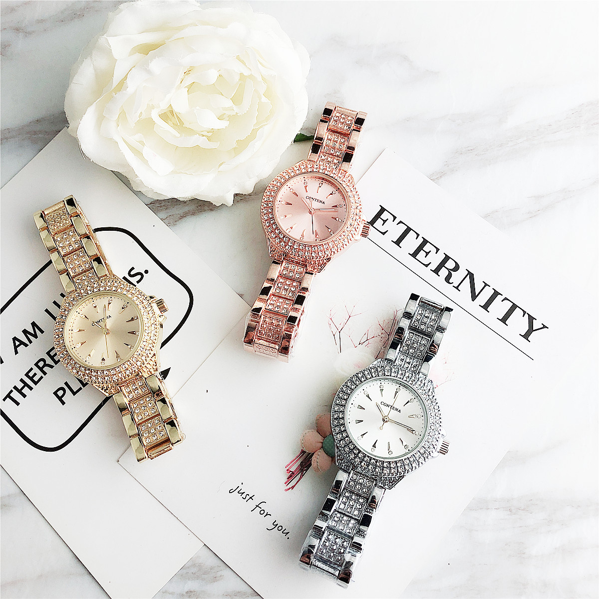 Contena Free Shipping New Arrival Watches Quartz Mujer Crystal Relojes Luxury Montre Watch Femme  Ladies Women Rhinestones