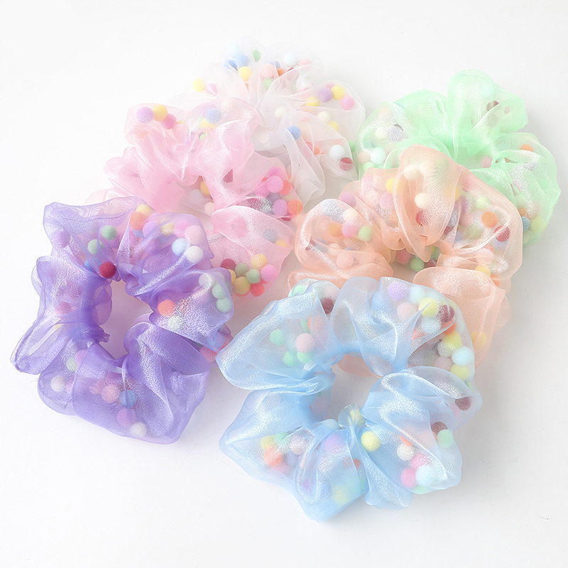 New Organza Scrunchies With Colorful Balls Hair Ties For Girls Elastic Hair Band Ponytail Holder Organza Women Hair Accessories