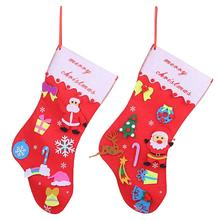 Merry Christmas Santa Claus Non-Woven Stockings Candy Gift Bag Home Xmas Decor Fabric