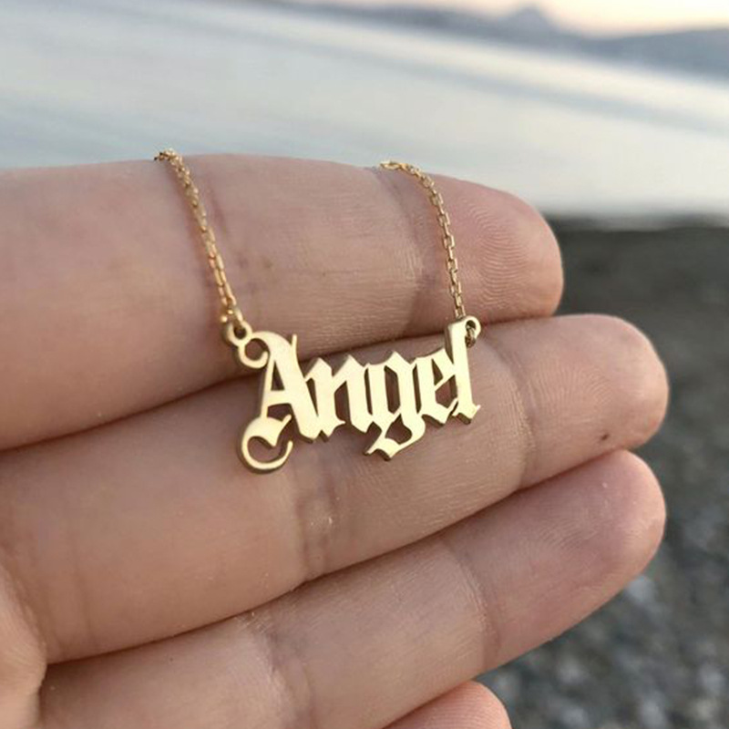 Fashion Baby Girls Necklace Angel English Necklace Letter Pendants Stainless Steel Mom...