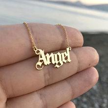 Colar com pingente de anjo, colar da moda para meninas, pingente de letras, de aço inoxidável, joia para amantes