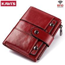KAVIS cartera de piel auténtica para mujer, monedero pequeño de Color rojo con cremallera y monedero, Mini tarjetero