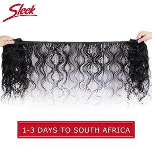 Image 2 - Sleek Brazilian Hair Weave Bundles 8   28 30 Inch Brazilian Body Wave Non Remy Human Hair Extension 1/3/4 Bundle Deals Free Ship
