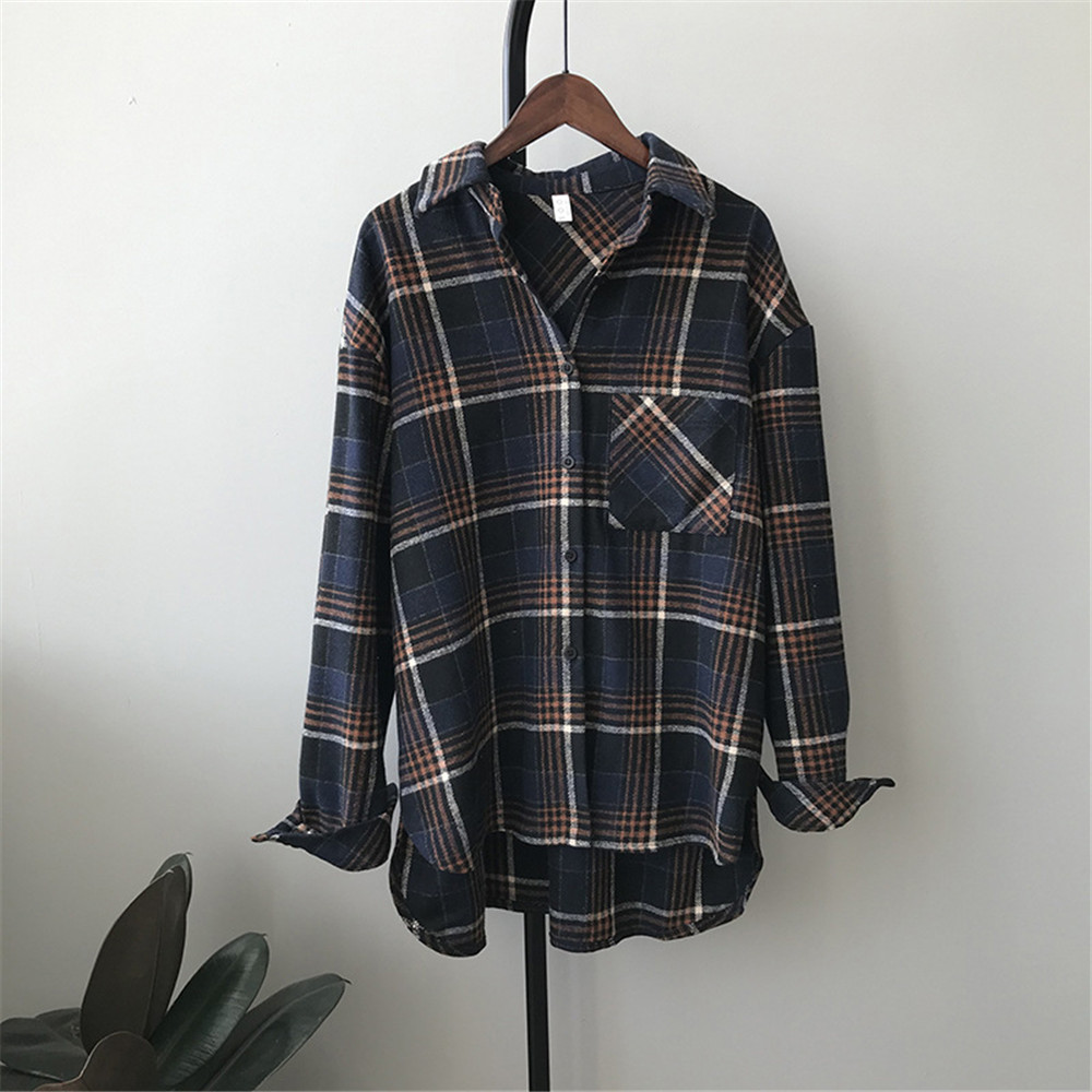 Spring Thick Loose cotton plaid Women blouses shirt 2020 female long sleeve Casual Warm women Blouse shirt office lady top Y0675 (16)