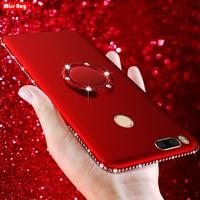 Funda de diamante brillante para Xiaomi mi A1, A2, mi 9 SE, MI 8 Lite, Redmi Note 5 Pro, 6 A, Note 7, con anillo para dedo, de silicona, suave