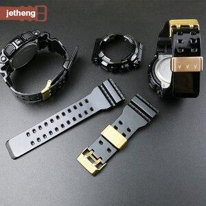 Мягкий силиконовый ремешок для наручных часов чехол для часов подходит для Casio G-SHOCK GA-110 GA100 GD-120 с металлическим кольцом Смарт-часы