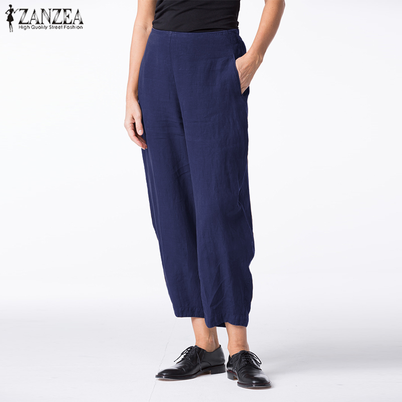 ZANZEA <font><b>Women</b></font> <font><b>Pants</b></font> Ladies Casual Long Trouser Elastic Waist <font><b>Baggy</b></font> <font><b>Cotton</b></font> Pantalones Mujer Harem Pockets Streetwear Sweatpants image
