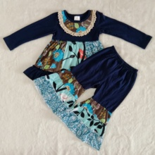 Outfit Pants Tops Children-Sets Bell-Bottomed Long-Sleeve Baby-Girls Boutique Fashionable