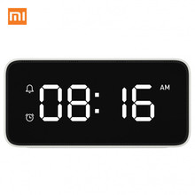 цена на Original Xiaomi Xiaoai Smart Alarm Clock Voice Broadcast Clock ABS Table Dersktop Clocks AutomaticTime Calibration Mi Home App