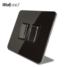 Wallpad H6 Hitam Nikel 2 Gang 1 Cara 2 Way LED Listrik Rocker Saklar Lampu Panel Stainless Steel Logam Tombol(China)