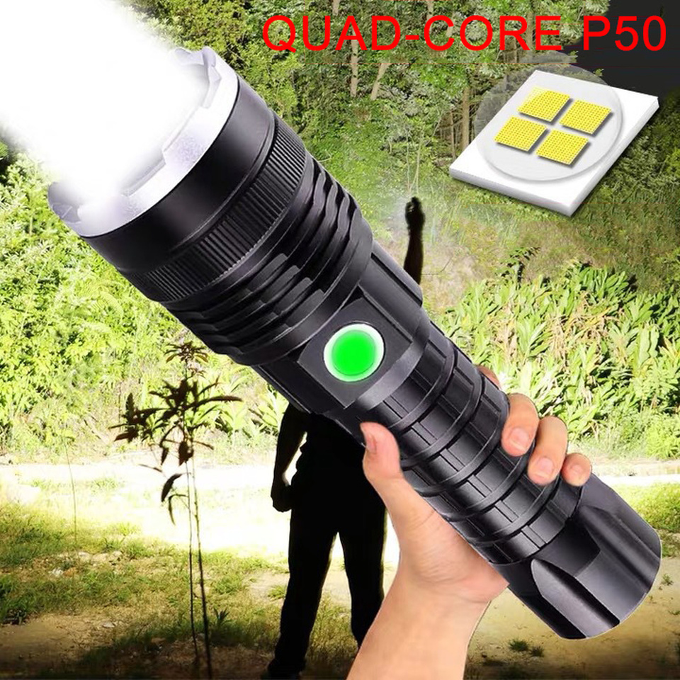 P50 Tactical Lantern lamp torch flashlight usb super zoom led rechargeable 18650