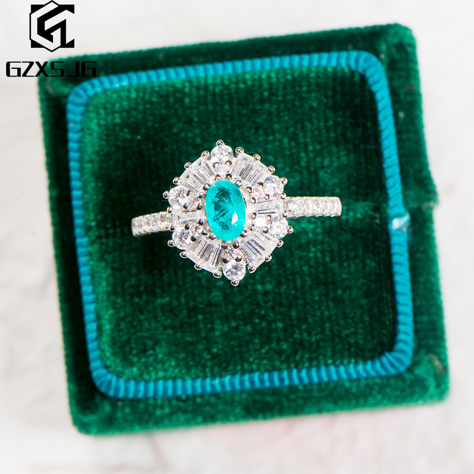 GZXSJG Paraiba Tourmaline Gemstones Ring for Women Solid 925 Sterling Silver London topaz Aquamarine Ring for Anniversary Gifts