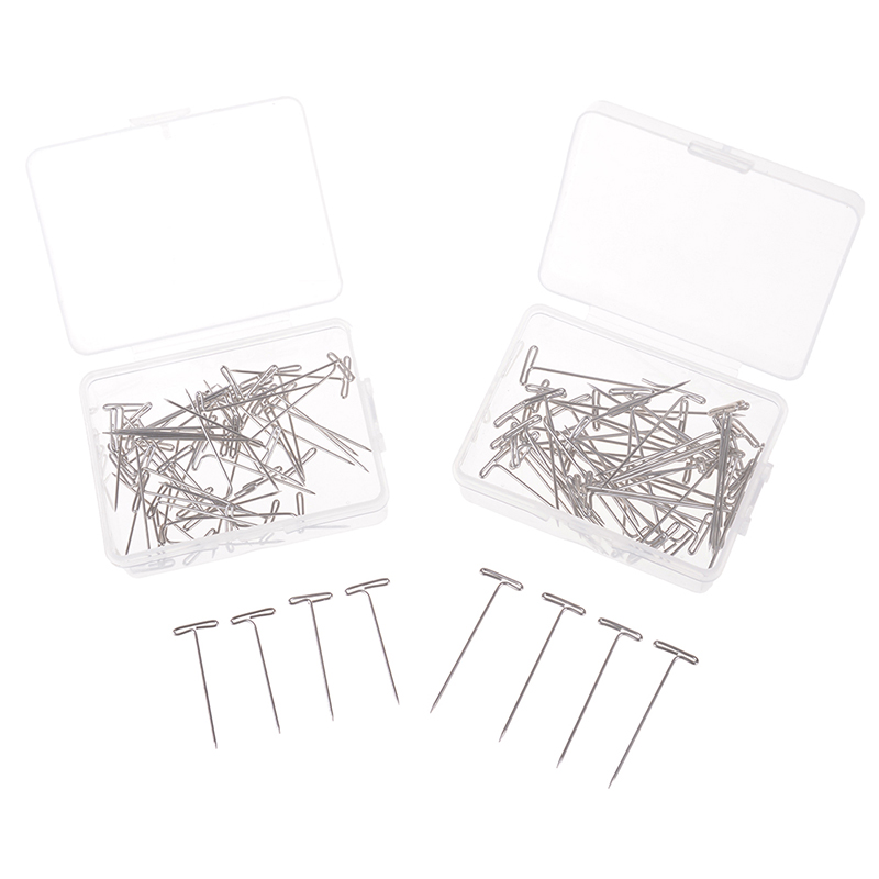 50Pcs T Pins For Holding Wigs Hair Extender Wig Making Blocking Knitting Modelling And Crafts T-Pins 2 Size