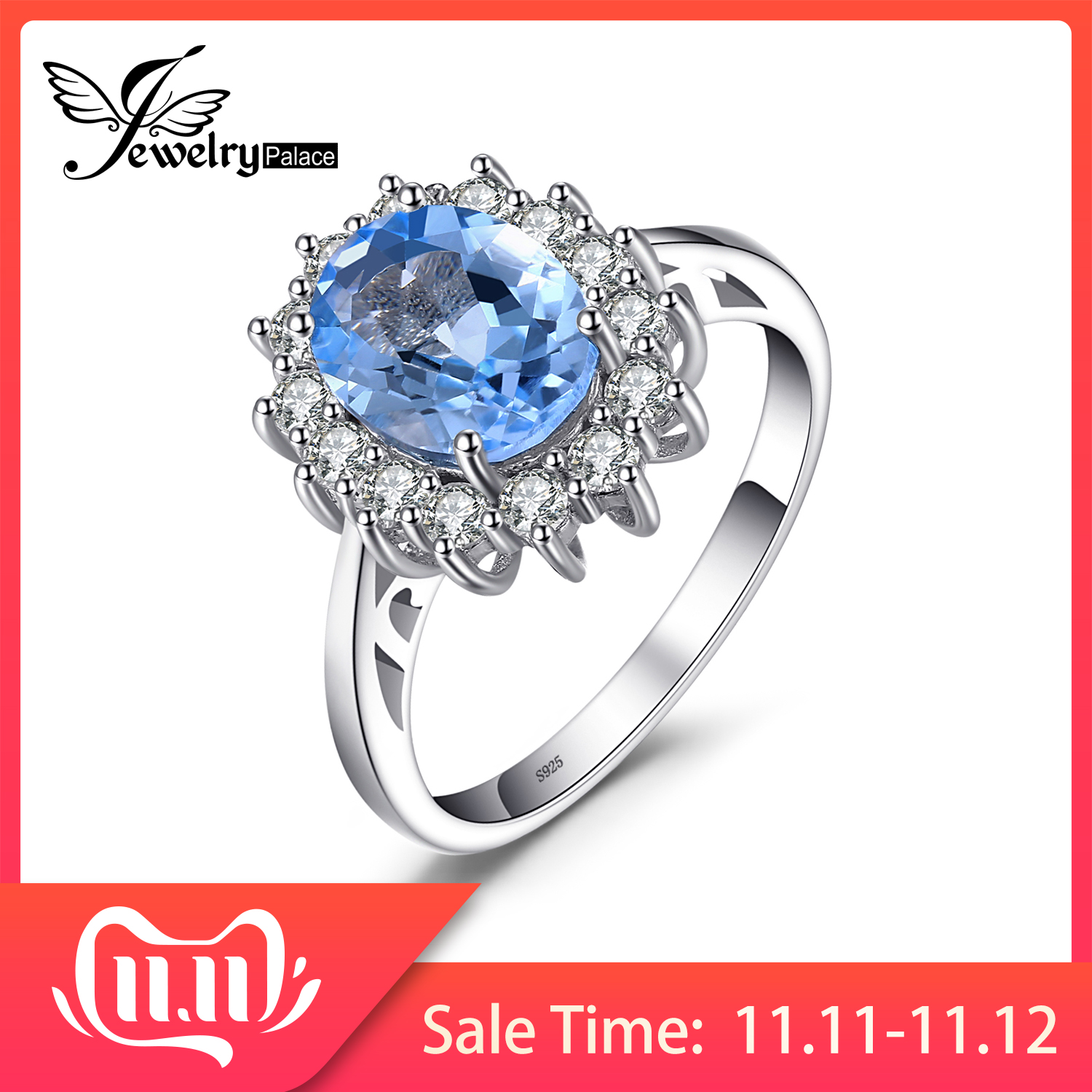 JewelryPalace Princess Diana William Kate 2.3ct Natural Blue Topaz Engagement Halo Ring 925 Sterling Silver Fine Jewelry Fashion