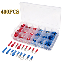 400pcs Ring insulated terminal Cable Wire Connector Female&Male Electrical Crimp Terminal Assortment Terminals Wire Lug Terminal 1200pcs insulated terminal assortment kit electrical terminals