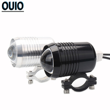 2PCS Motorcycle Head Lights Spot U2 Headlight Driving Light Fog Lamp 12V Accessories High Low Flash LED Black Silver
