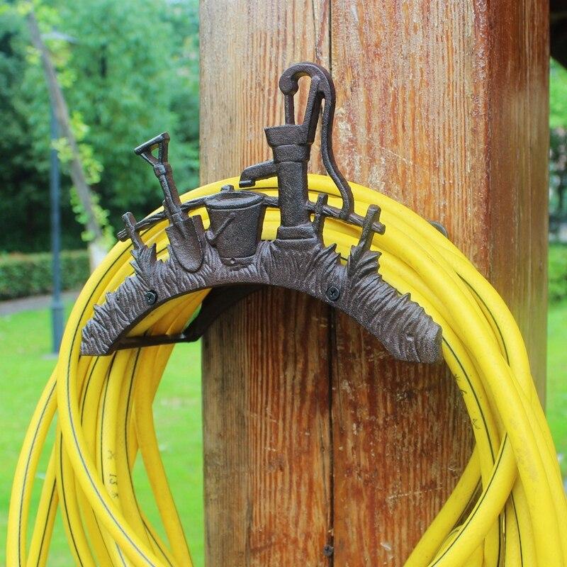 Wrought Iron Hose Rack Holder Shovel