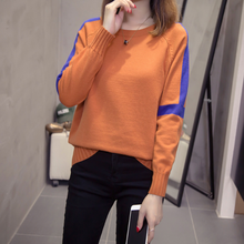 Plus Size Pullovers Sweater Women 2020 Autumn Winter Loose Knitted Tops Oversized Striped Patchwork Soft Knitwear Jumper DA641(China)