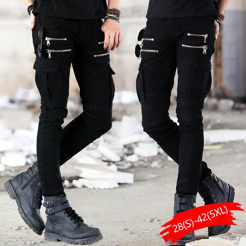 Green Black Denim Biker Jeans Mens Skinny 2020 Runway Distressed Slim Elastic Jeans Hip Hop Washed Skateboard Trouers Streetwear