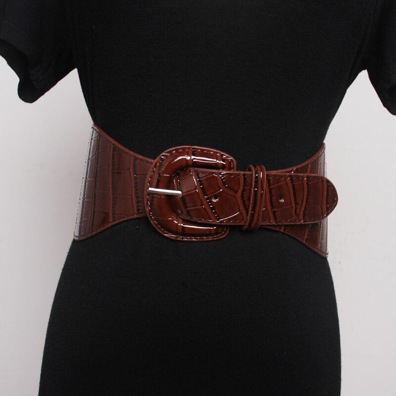 Ms Waist Sealing No Elastic Wide Belt Decoration Style Skirt Sweater Bright PU Leather Women Waistband 98*9.8CM Black Red