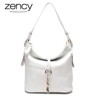 Zency New Fashion Women Shoulder Bag Metal Tassel 100% Genuine Leather Lady Crossbody Messenger Elegant Gift Handbag Black White - DISCOUNT ITEM  53 OFF Luggage & Bags