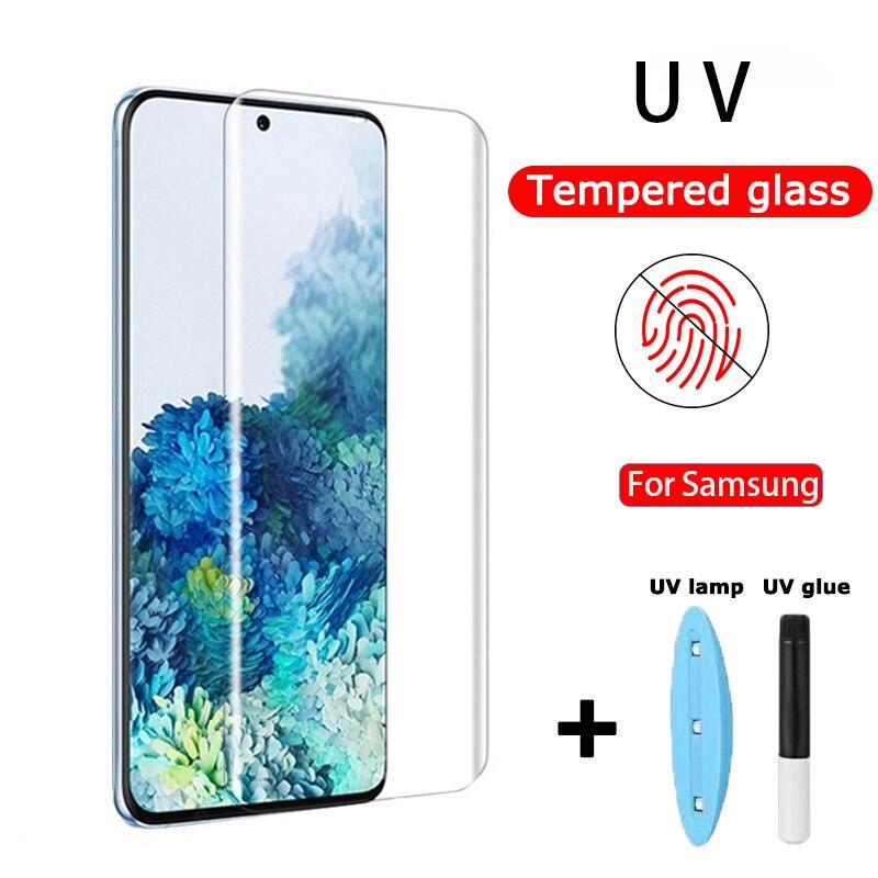 Закаленное УФ-стекло для Samsung Note 10 Plus Note 8 9 S10 S9 S8 Plus S10e S7 Edge 5D