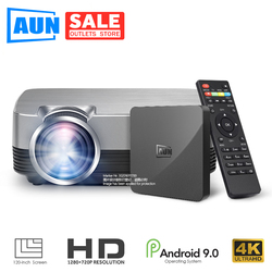 AUN MINI Projector Q6s/Q6, 1280x720P/800x480p Video Beamer. Portable 3D video Cinema Support 1080P (Optional Android 9.0 OS Set)