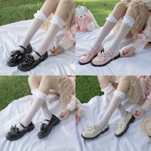 Japanese College Students Girls Round Toe Buckle Straps Bow Shoes Lolita JK Commuter Uniform Lovelive PU Leather Shoes 3 Colors