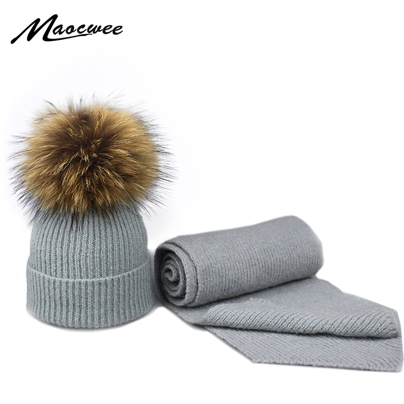 Winter Beanie Hat Scarf Set With Real Nature Raccoon Fur Pompon For Women And Children Winter Warm Knitted Hat Scarf Set Beanies