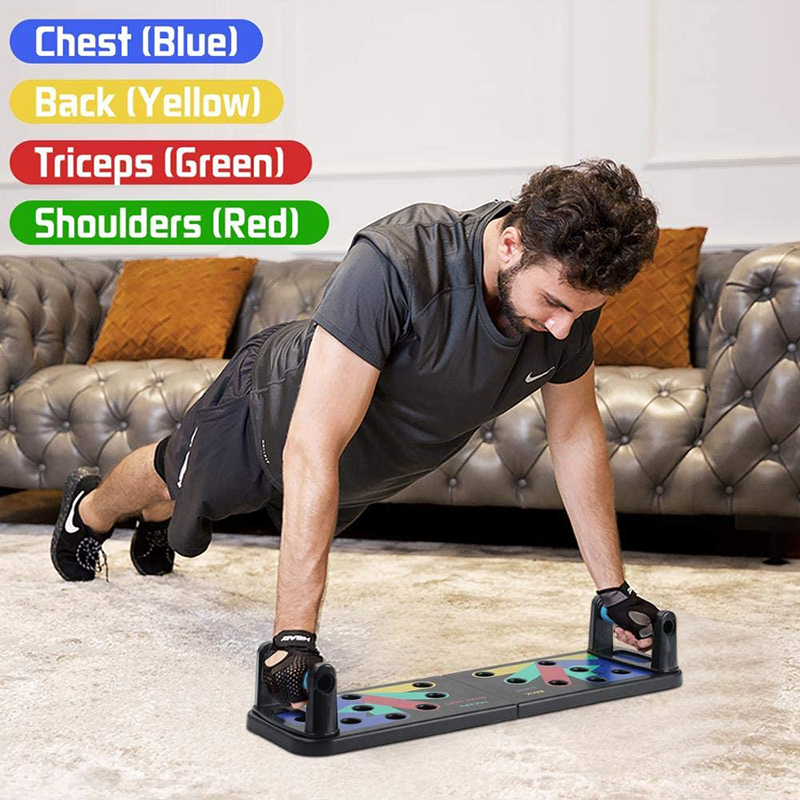 2020 Push-up Rack Board With Resistance Band Fitness Exercise Tool Push-up Stand Portable Bracket Board Abdominal Muscle Trainer