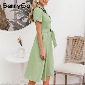 Image 4 - BerryGo Elegant ruffle green dress women High waist belt OL midi dress female vestidos Casual short sleeve office dress ladies