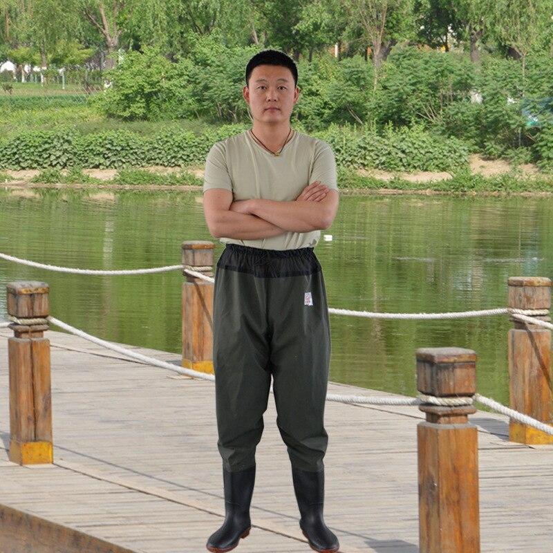 PVC Water Pants Red Shiyu Waist-Thick Waders Angling Fish Waterproof Half-length One-piece