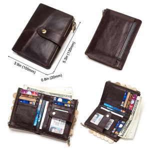Image 5 - GZCZ RFID Genuine Leather Rfid Wallet Men Crazy Horse Wallets Coin Purse Short Male Money Bag Quality Designer Mini Walet Small