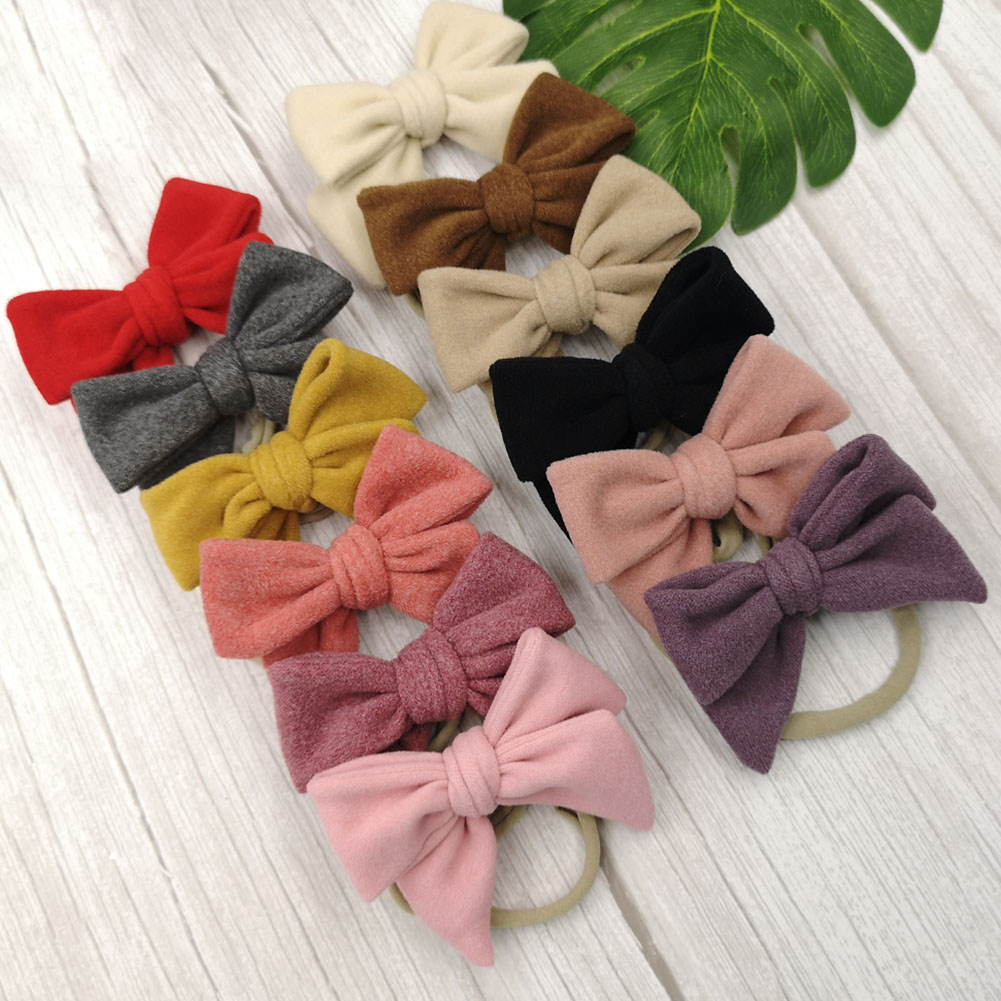 Knot Bows Headband Baby Girls Velvet Hair Accessories Elastic Soft Nylon Hairband Photo Props Toddler Baby Hair Bows Headband
