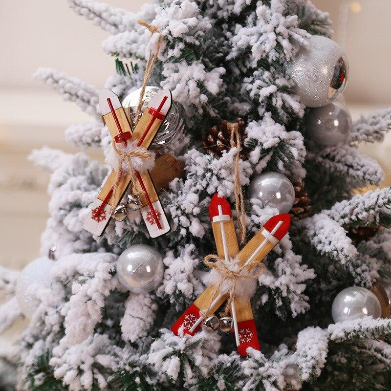 Деревянные сани с веревкой и колокольчиками Рождественская игрушка орнамент Рождественский ярлык кулон для праздников и вечеринок украше... - 4