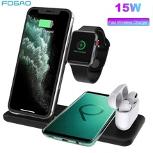 15W Qi Wireless Charger Dock Station 4 in 1 Stand For iPhone X XR XS 11 Pro Airpods Pro Apple Watch Charger Fast Charging Hoder