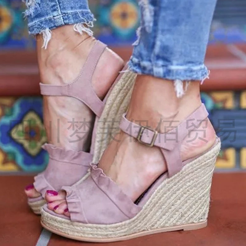 Women Sandals Wedges Peep-Toe Fashion Summer High-Ladies Buckle-Strap Casual Front