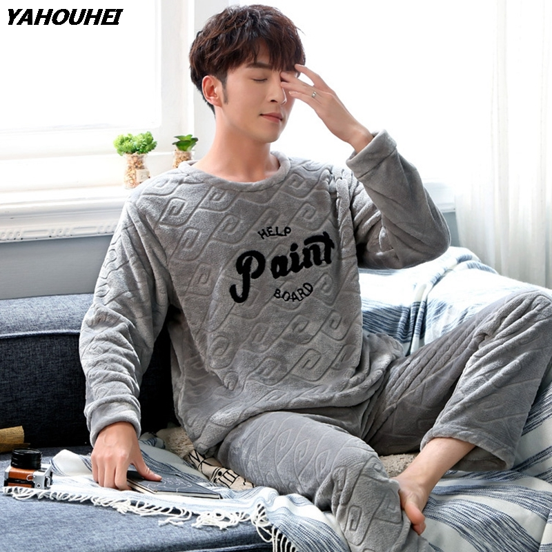 2018 Winter Thick Warm Flannel Pajamas Sets For Men Long Sleeve Coral Velvet Pyjama Male Letter Print Sleepwear Homewear Clothes