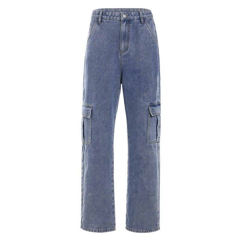 Weekeep Pockets Patchwork High Waist Jeans Women Streetwear Straight Jean Femme Blue 100% Cotton Cargo Pants 6