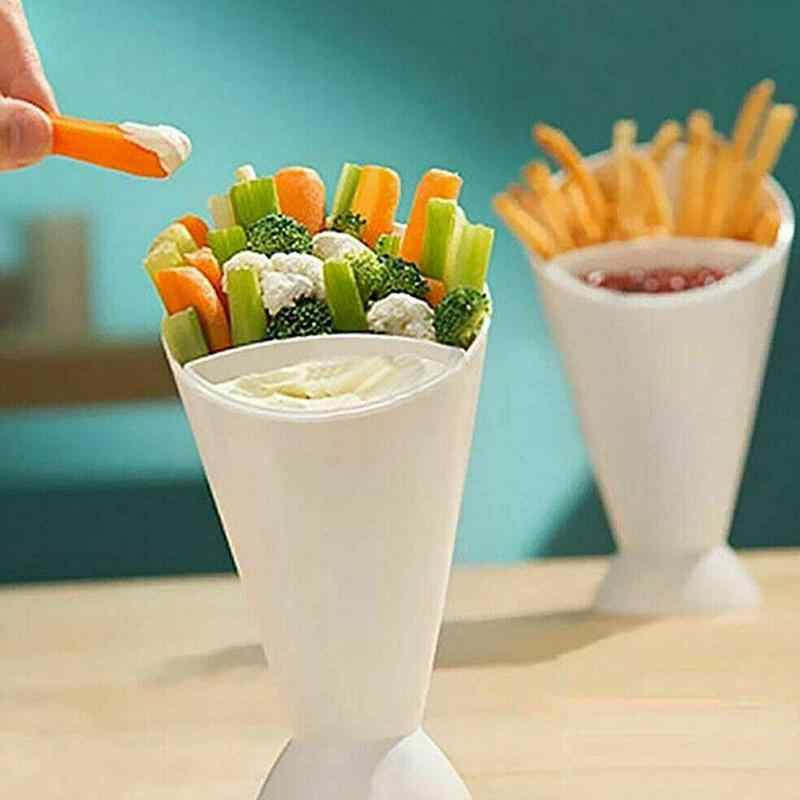 Draagbare Lade Container Frietjes Cup Keuken Aardappel Tool Salade Cup Keuken Frietjes Handvat Cup Fries Salade Plastic Saus Ket Cup