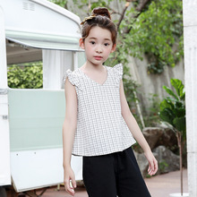 Children Clothes Summer 2020 Teenage Girls White Blouse Plaid Cute Shirts For Girls Sleeveless Vest Shirt For Girl Baby Tops cakucool women beading blouse shirt sleeveless summer chiffon tops pearl tassels cute sexy girls blusas top shirts