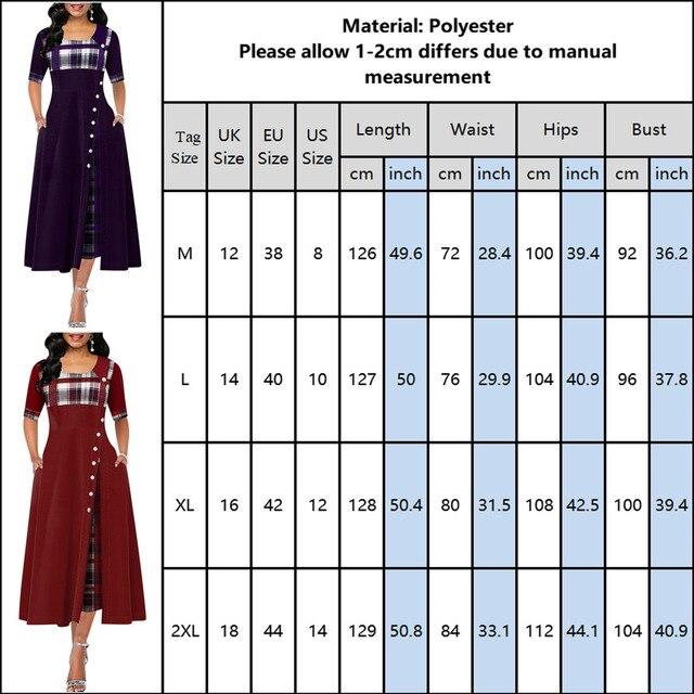 Elegant Long Dress Women spring Plaid Print Party Dress Irregular Vintage Dresses Ladies Button A-Line 2020 New fashion Dress 10