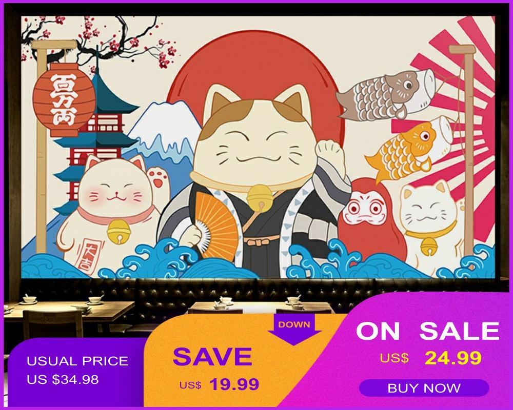 Japanese Hand-Painted Wallpaper Japan Lucky Cat Ukiyo-E Restaurant Sushi Restaurant Tooling Wall Custom 3D Mural