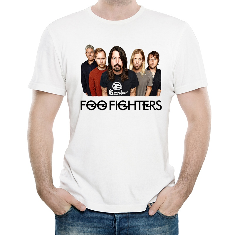Foo Fighters T Shirt White Color Mens Fashion Short Sleeve Foo Fighters Logo T-shirt Tops Tees tshirt Unisex T-shirt image