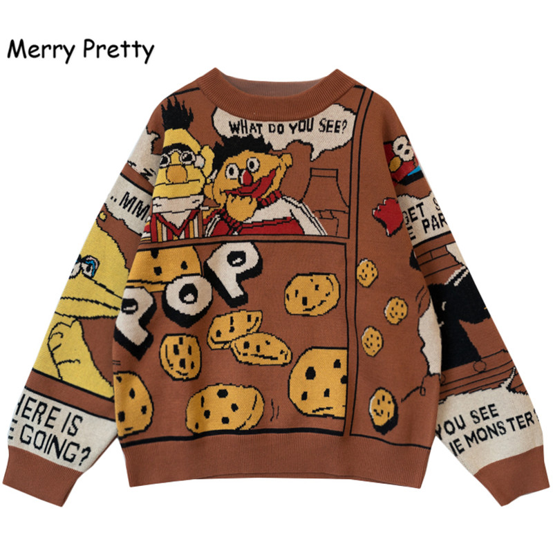 Merry Pretty  Winter Thick Warm Sweater Women Funny Cartoon Letter Printed Jacquard Pullovers Sweaters Knit Drop Shouder Jumpers