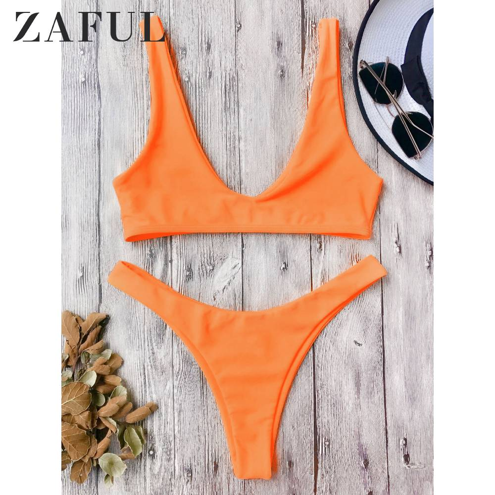 ZAFUL Women High Cut Scoop Neck Bikini Set Scoop Neck Low Waisted Wire Free Bathing Suit High Leg Bikini Bottom Women Swimwear