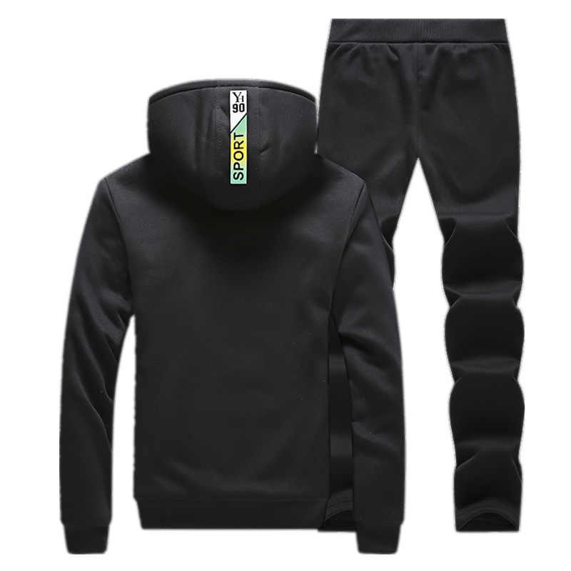 2019 Dikke Fleece Trainingspak Winter mannen Hooded Sets Fluwelen Jasje + Broek Casual Mannen Sweatsuit 2 Delige Set Slanke fit Capuchon Suits