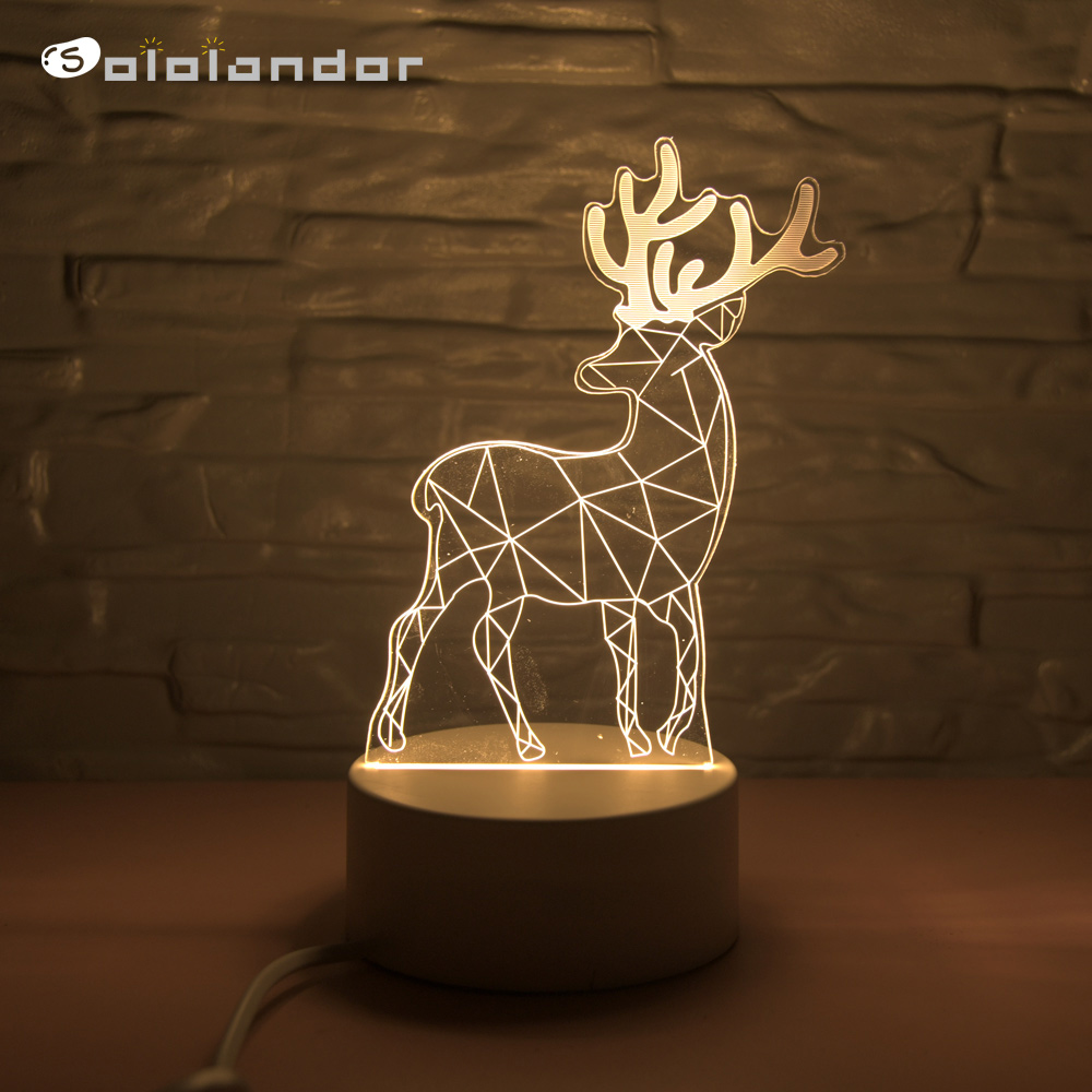 2019 New Arrival 3D LED Lamp Creative Energy Saving Cartoon Christmas Home Decoration Control Switch Night Light Children's Gift